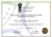 První mezinárodně certifikovaná škola u Světové asociace kuchařů (The World Association of Chefs Societies - WACS)